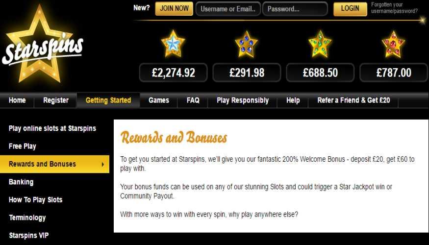 StarSpins bonus policy